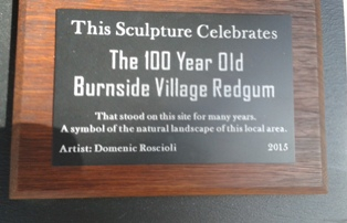Engraved Plate for Sculpture Burnside Shopping Centre Village Tree