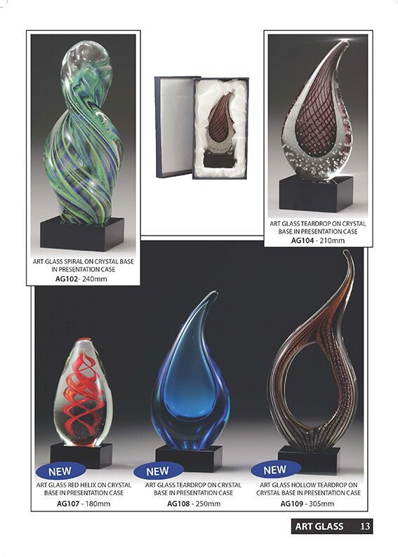 Glass awards, Trophies